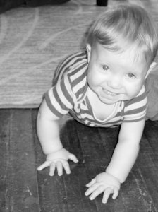 Crawling! Something we were told he'd never do. Take that, bitches!
